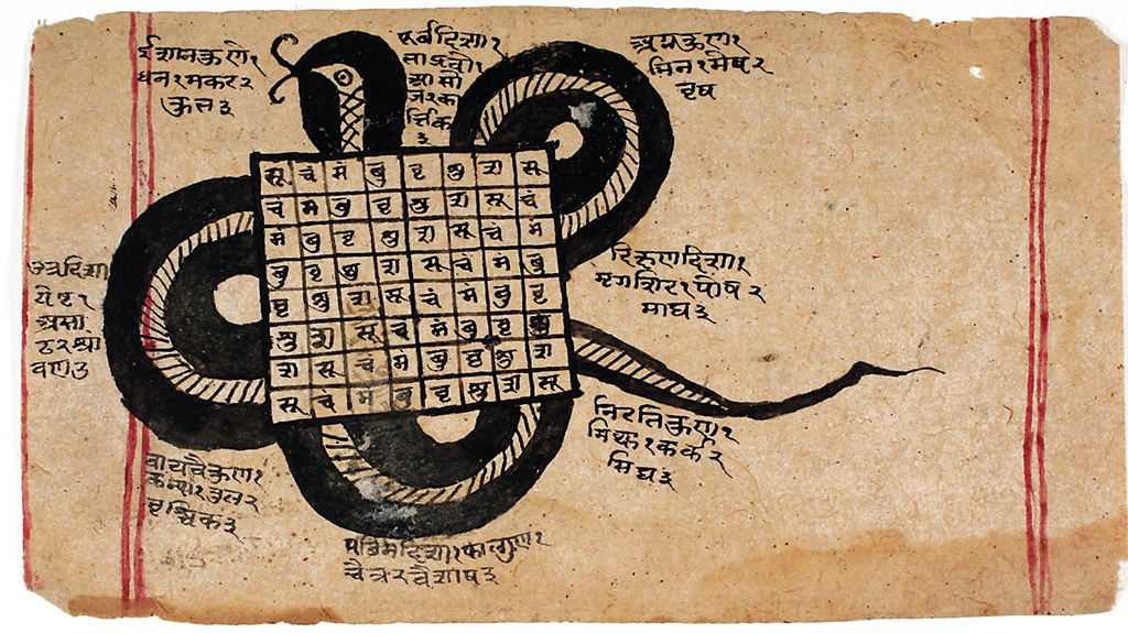 "Artist unknown, Astrological birth chart used to name a baby, ca. late 19th century, gouache and ink on paper, 4 1/4 x 8 1/4""."