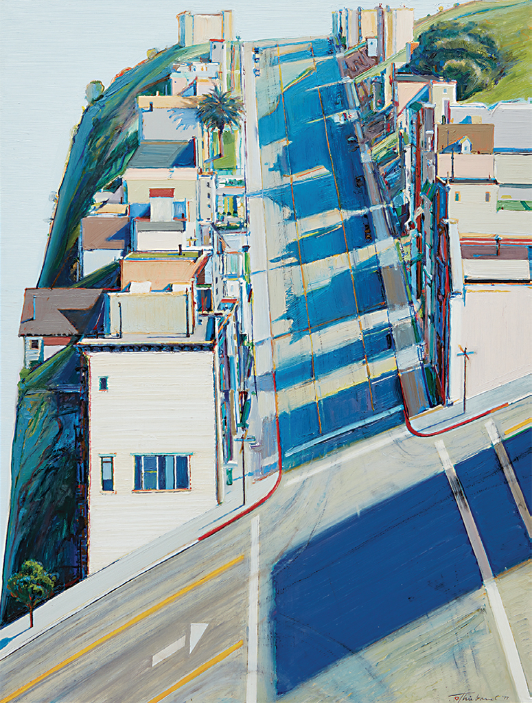 "Wayne Thiebaud, Ripley Ridge, 1977, oil on linen, 48 x 36"". © Wayne Thiebaud/Licensed by VAGA, New York."