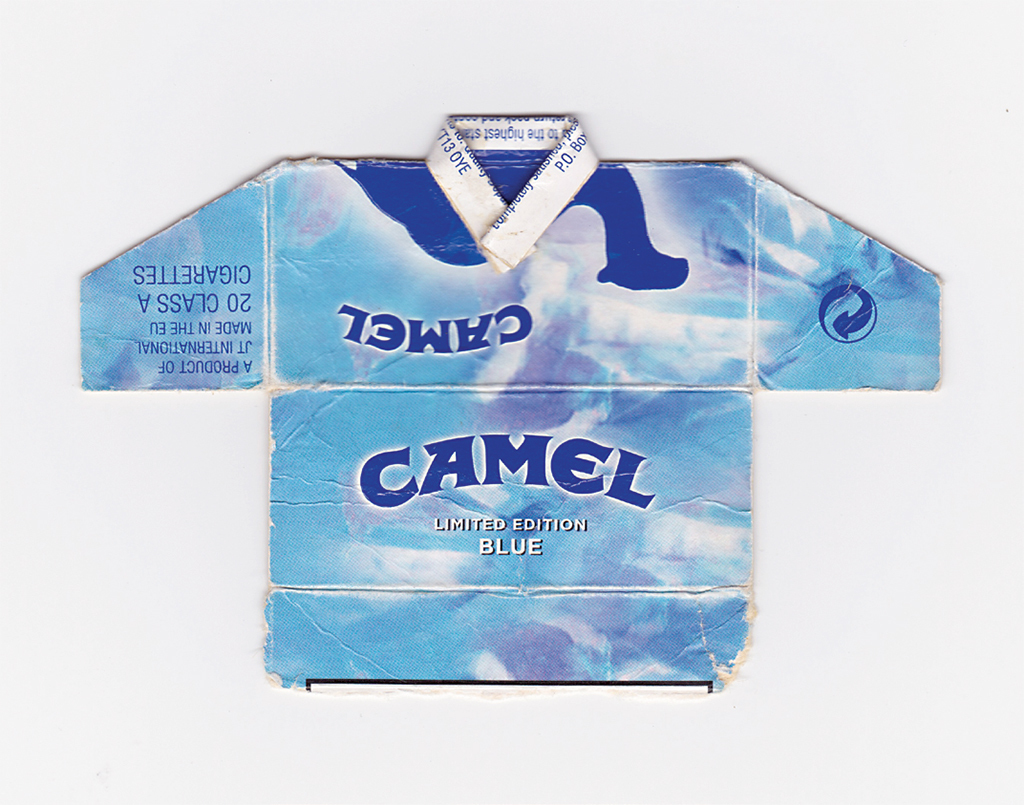 "Leo Fitzmaurice, CAMEL LIMITED EDITION BLUE, 2009, cigarette packet, 31⁄2 × 37⁄8"". From the series ""Post Match,"" 1996–2017."