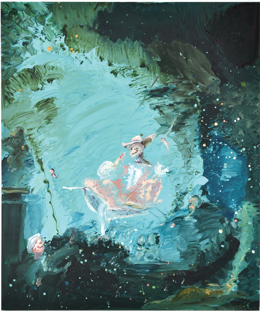 "Genieve Figgis, The Happy Accidents of the Swing (after Fragonard), 2018, acrylic on canvas, 47 1/4 x 39 3/8""."