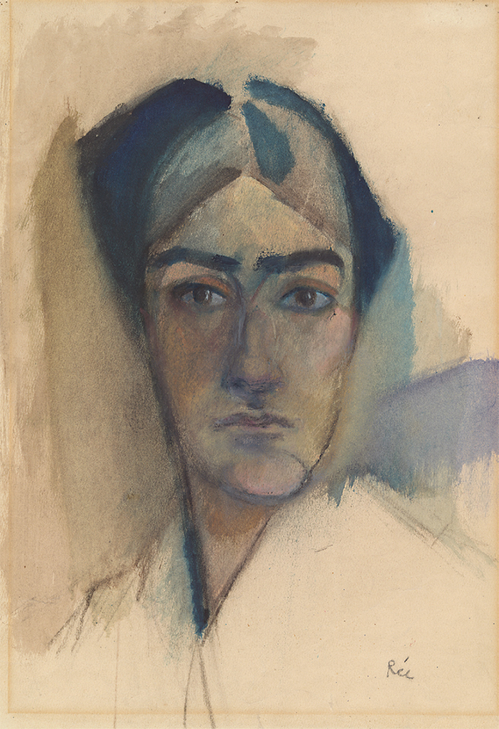 "Anita Rée, Self-Portrait, ca. 1913, charcoal and watercolor on paper, 17 1/2 x 12 5/8""."
