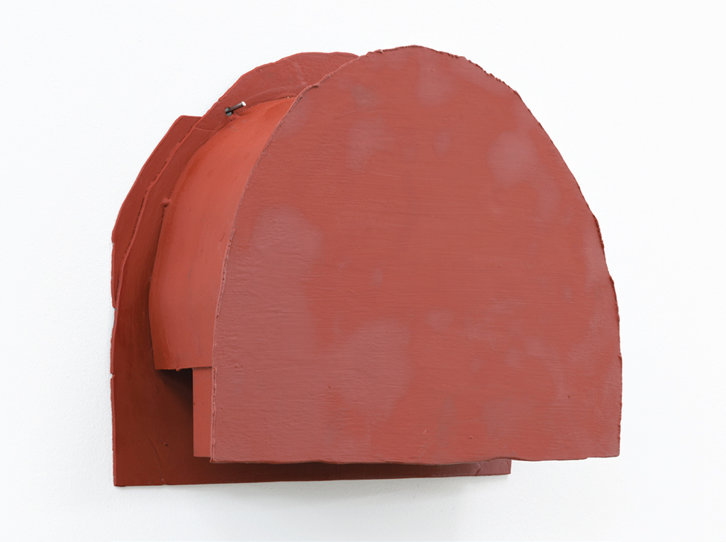 "Liesl Raff, Head 3, 2017, sheet steel, paint, silicone oil, 11 3/8 x 14 5/8 x 4 3/8""."