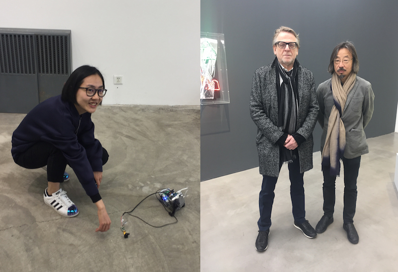 Left: Curator Miao Zijin. Right: Dealer Waling Boers and artist Huang Rui.