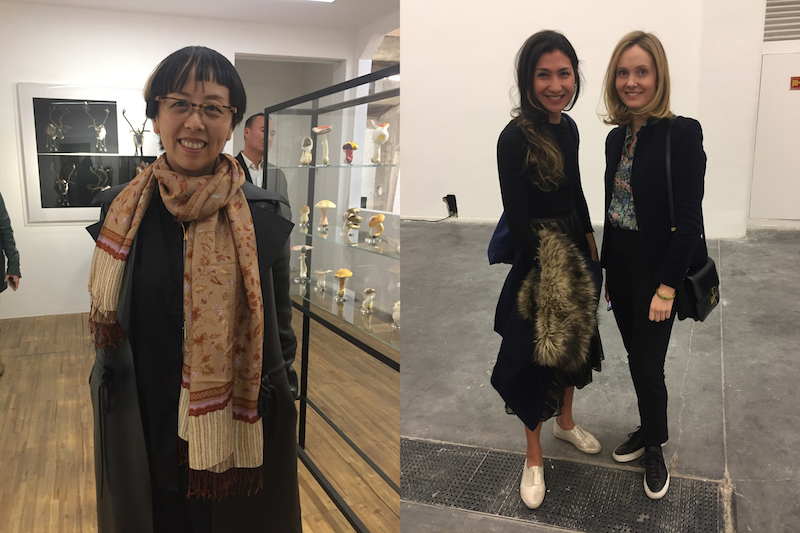 Left: Platform China director Sun Ning. Right: Deborah Ehrlich of the UBS Art Collection and Marlene Von Carnap of Michael Werner Gallery.