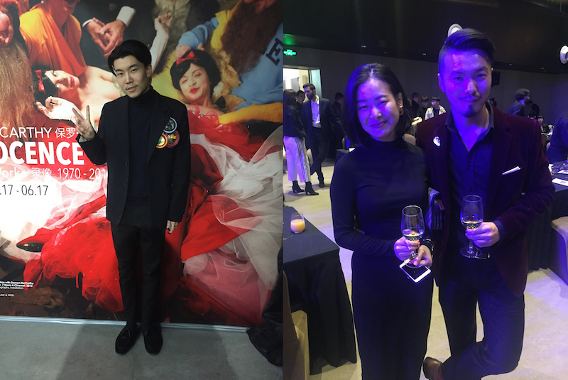 Left: Michael Xufu Huang, cofounder of M WOODS. Right: Lingzhi Zhuang and Terry Chong of J Gallery.