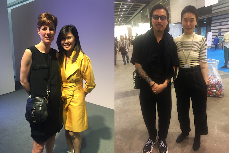 Left: Curator Beth Greenacre and Shuyin Yang. Right: Curator Victor Wang and dealer Kate Wong.
