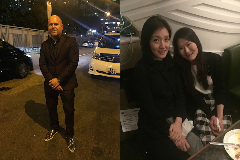 Left: Marc Spiegler, global director of Art Basel. Right: Minhee Suh and Jihyun Lee of K-Auction.