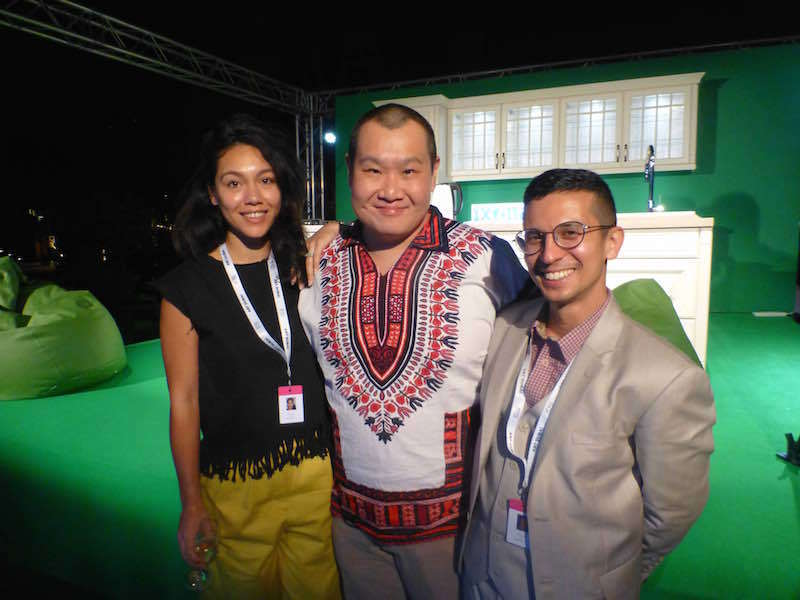 GCC's Amal Khalaf and Barrak Alzaid with Project Native Informant's Stephan Tanbin Sastrawidjaja in the Green Room.
