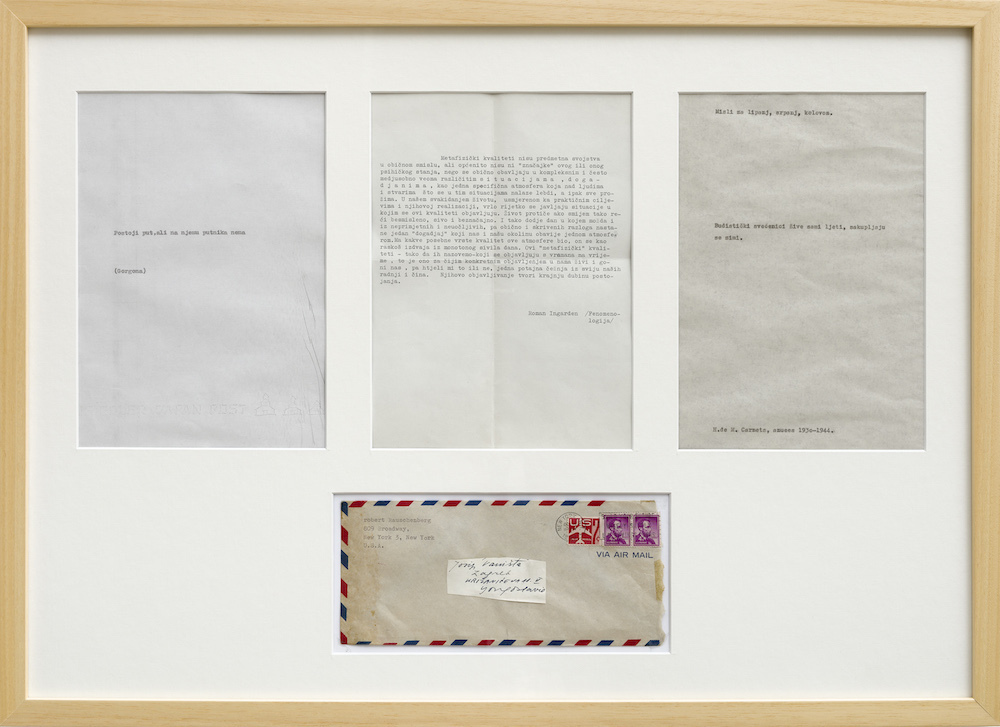 "Josip Vaništa, ""Thoughts for the Month,"" 1964–2010, collage with vintage documents, 20 x 27 1/2"". Photo: P420, Bologna."