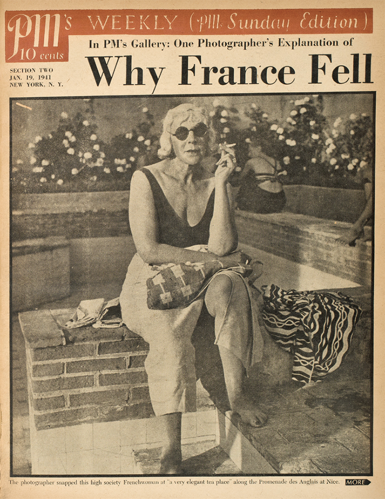 "Cover from PM, January 19, 1941. ""One Photographer's Explanation of Why France Fell."" Photos: Lisette Model."