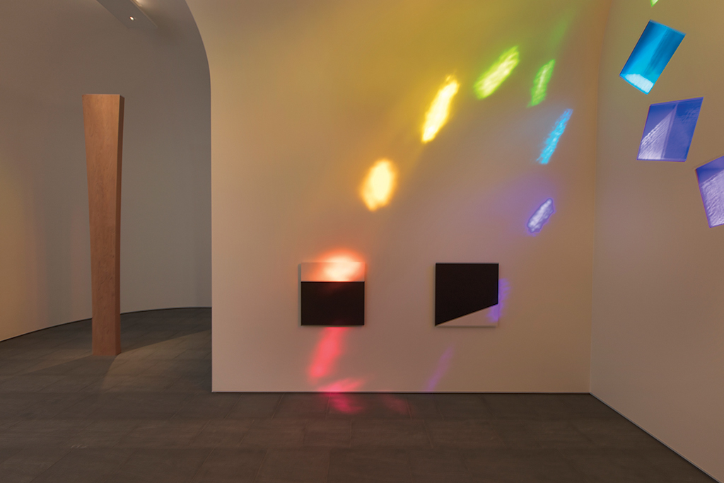Ellsworth Kelly, Austin, 2015, artist-designed building, stained-glass windows, marble panels, redwood totem. Installation view, Blanton Museum of Art, the University of Texas at Austin, 2018. Photo: Kate Russell. © Ellsworth Kelly Foundation.