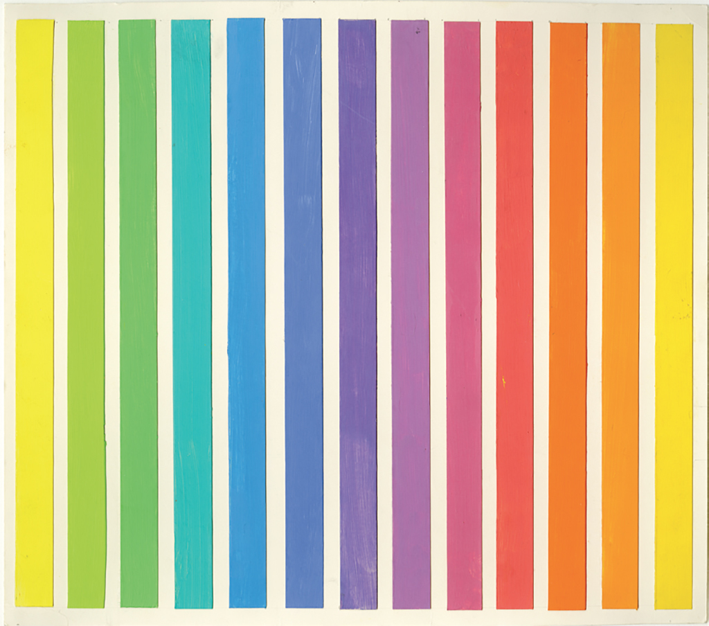 "Ellsworth Kelly, Study for Spectrum IV, 1967, oil and collage on paper, 11 3/8 x 12 5/8""."
