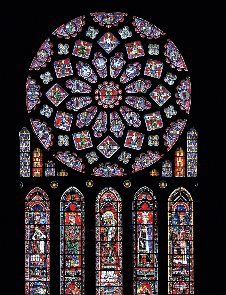 Chartres Cathedral, ca. 1220, France. Rose window, ca. 1235, north transept. Photo: Guillaume Piolle/Wikicommons.