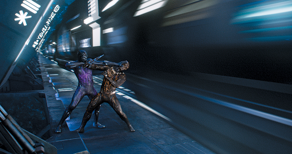 Ryan Coogler, Black Panther, 2018, 4K video, color, sound, 134 minutes. Black Panther (Chadwick Boseman) and Killmonger (Michael B. Jordan).