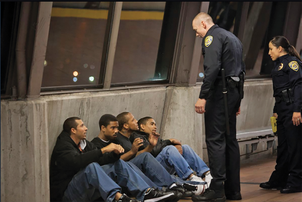 Ryan Coogler, Fruitvale Station, 2013, Super 16, color, sound, 85 minutes. Second from left: Oscar Grant (Michael B. Jordan).