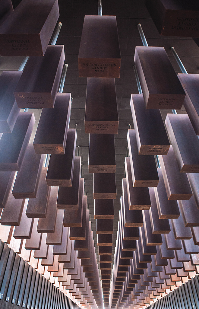 National Memorial for Peace and Justice, Montgomery, AL, 2018. Photo: Equal Justice Initiative.