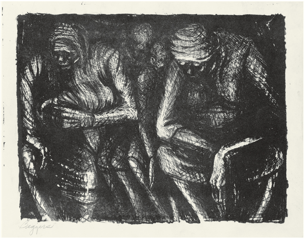 "John T. Biggers, Women and Children, 1952, lithograph on paper, 13 1/4 × 17""."