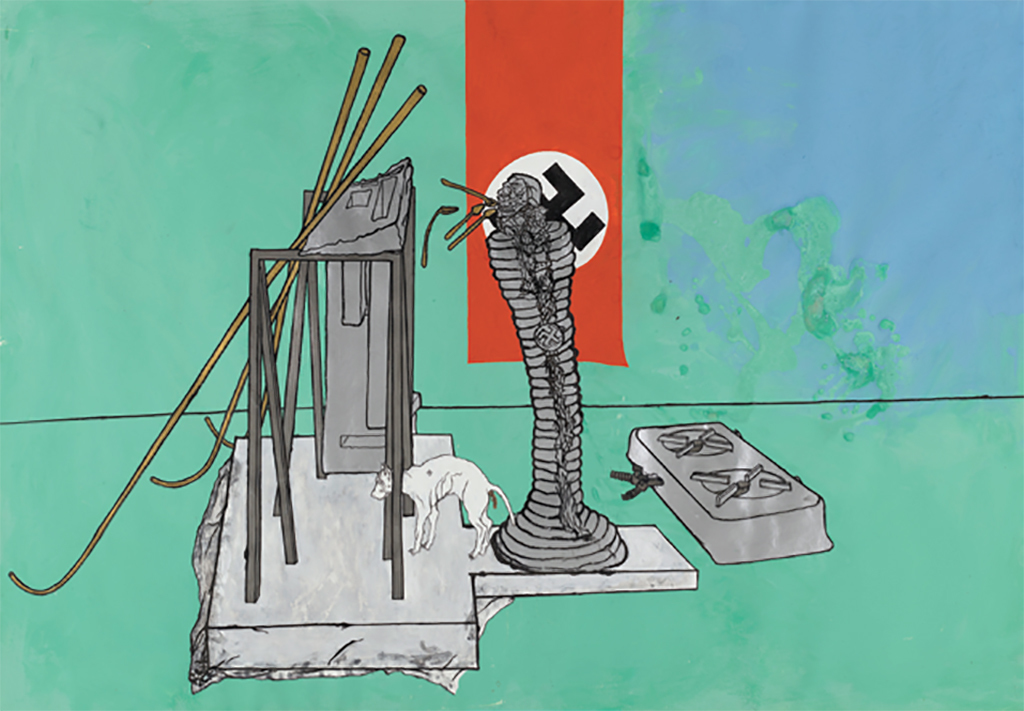"Bruno Gironcoli, Entwurf zur Veränderung von Säule mit Totenkopf (Design for Modifying Column with Skull), 1971, metal powder paint, india ink, and gouache on paper, 24 3/8 x 35""."