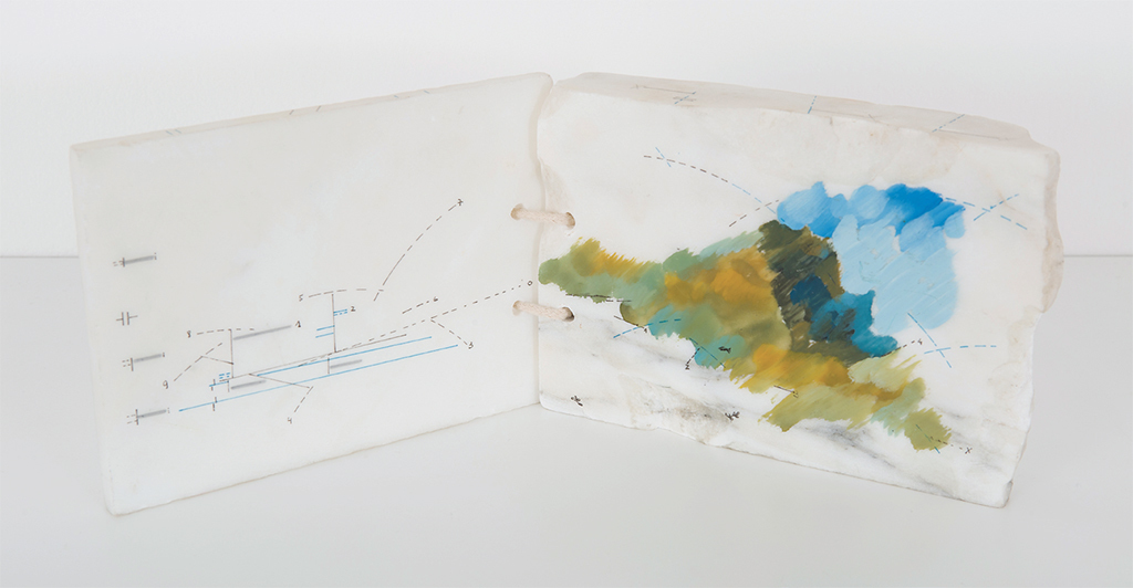 "Spread from Marie Orensanz's Nature, energie, forcez, 1987–89, marble, water-based paint, ink, 6 x 7 x 1 1/2""."