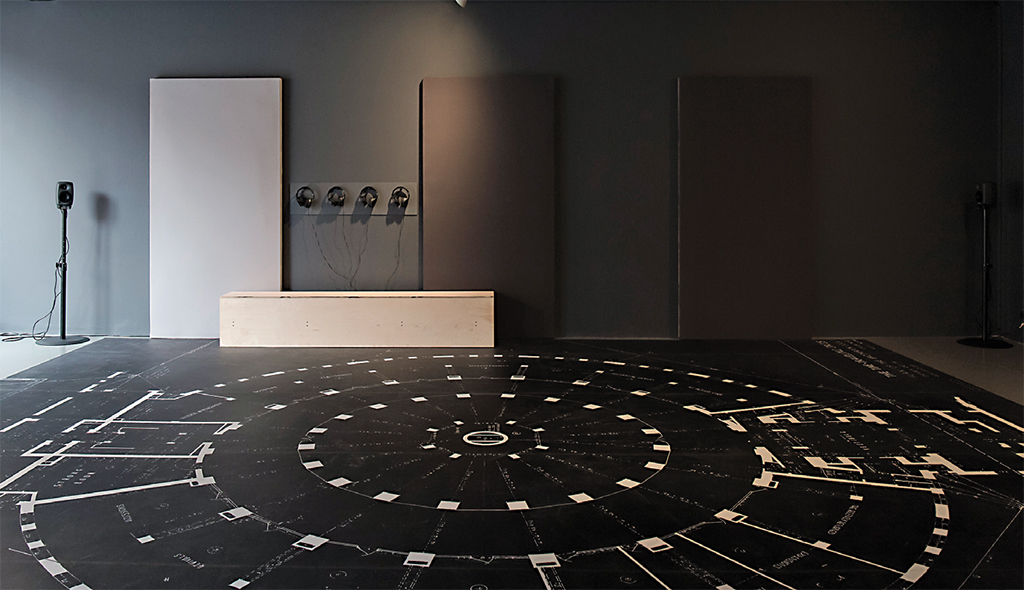 Katrina Palmer, The Time-Travelling Circus: The Recent Return of Pablo Fanque and the Electrolier, 2018, ink-jet print on floor vinyl, Perspex, headphones, sound, sound baffles, printed matter. Installation view. Photo: Kasia Kaminska.