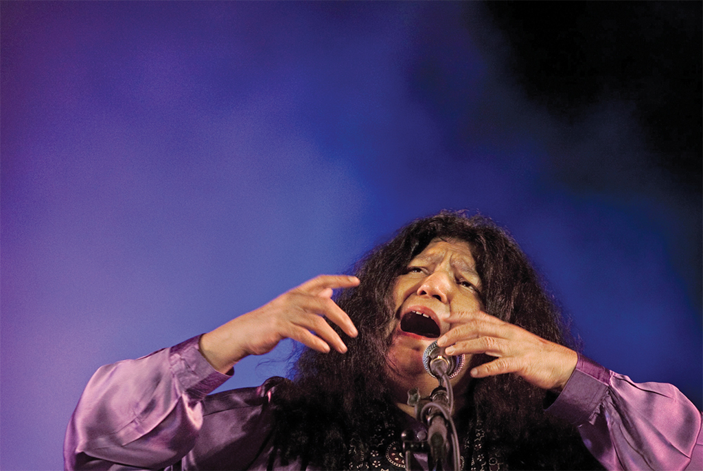 *Abida Parveen performing at the Jahan-e-Khusrau World Sufi Music Festival, Humayun's Tomb, New Delhi, March 4, 2012.* Photo: Kevin Frayer/AP/REX/Shutterstock.