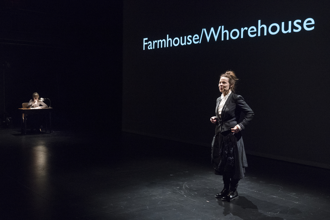 Suzanne Bocanegra, Farmhouse/Whorehouse, 2017. Performance view, Brooklyn Academy of Music, New York, December 13, 2017. Suzanne Bocanegra and Lili Taylor. Photo: Richard Termine.