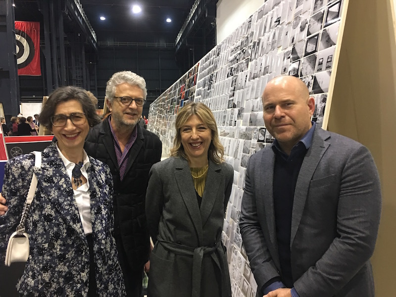 Collectors Giuseppina and Claudio Girardi, Damiana Leoni of Art Basel, and Art Basel global director Marc Spiegler.