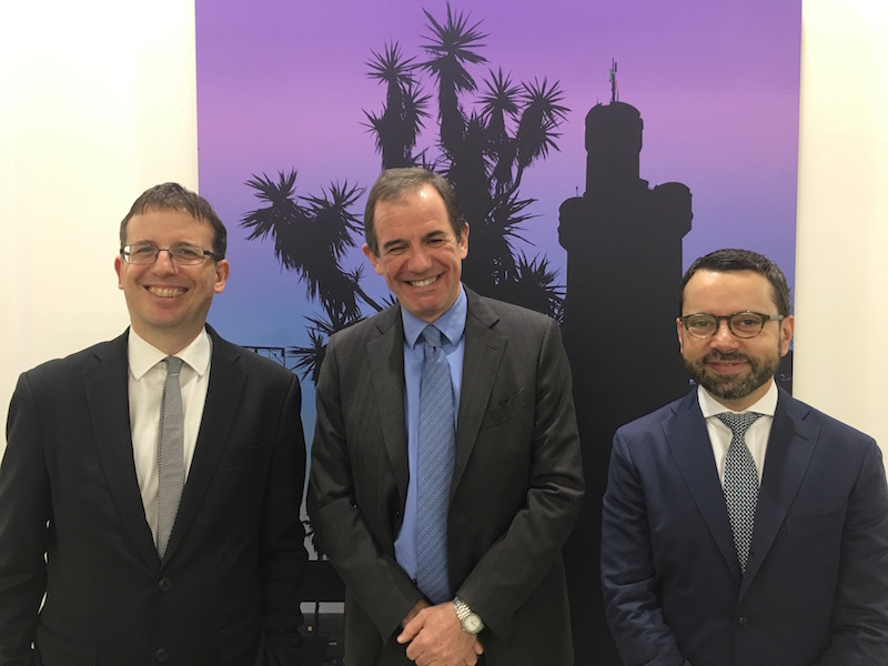 Milan's councilor for culture, Filippo del Corno; Giovanni Gorno Tempini, president of the Fondazione Fiera Milano; and Alessandro Rabottini, artistic director of MiArt.