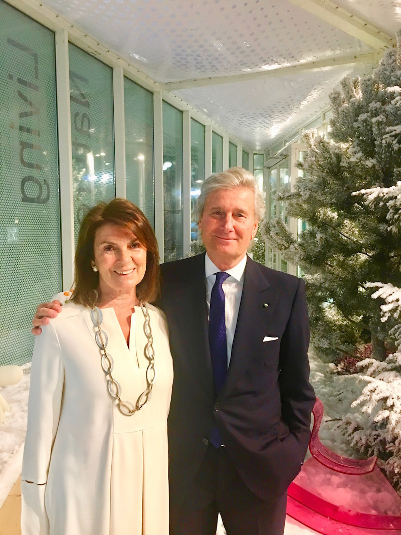 Claudio Luti, president of Salone del Mobile, with his wife Maria.