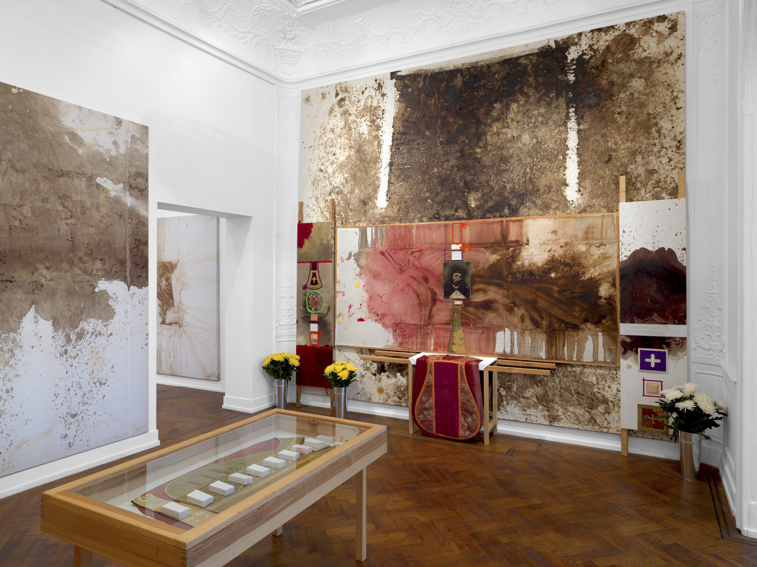 "View of ""Hermann Nitsch: DAS ORGIEN MYSTERIEN THEATER,"" 2018."