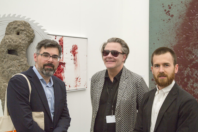 Gary Garrido Schneider, executive director of Grounds for Sculpture, with dealer Peter Nagy of Nature Morte and Daniel S. Palmer, associate curator at Public Art Fund.