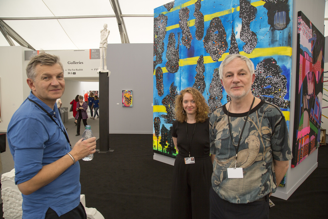 Dealer Anton Kern with his gallery's senior director Christoph Gerozissis and associate director Brigitte Mulholland.