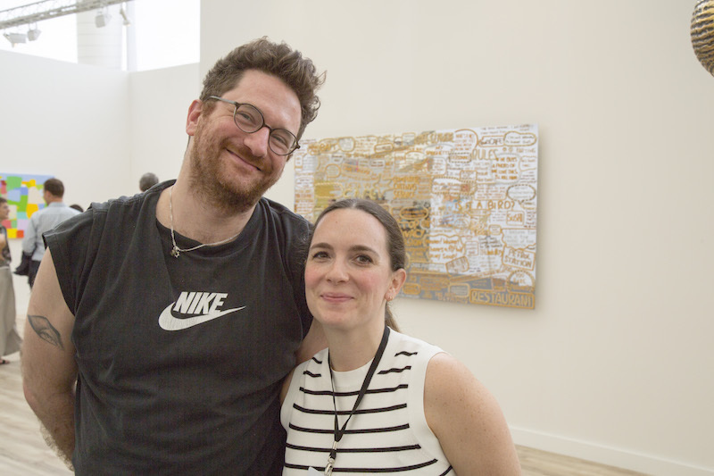 Dealer David Fierman with Emily Ruotolo, director at James Cohan Gallery.