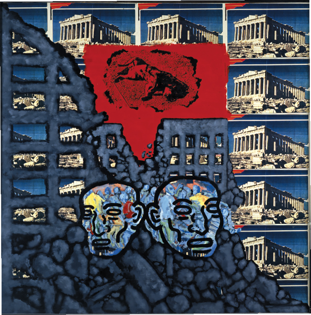 "David Wojnarowicz, Soon All This Will Be Picturesque Ruins, 1984, acrylic and collage on Masonite, 48 × 48"". © The Estate of David Wojnarowicz."