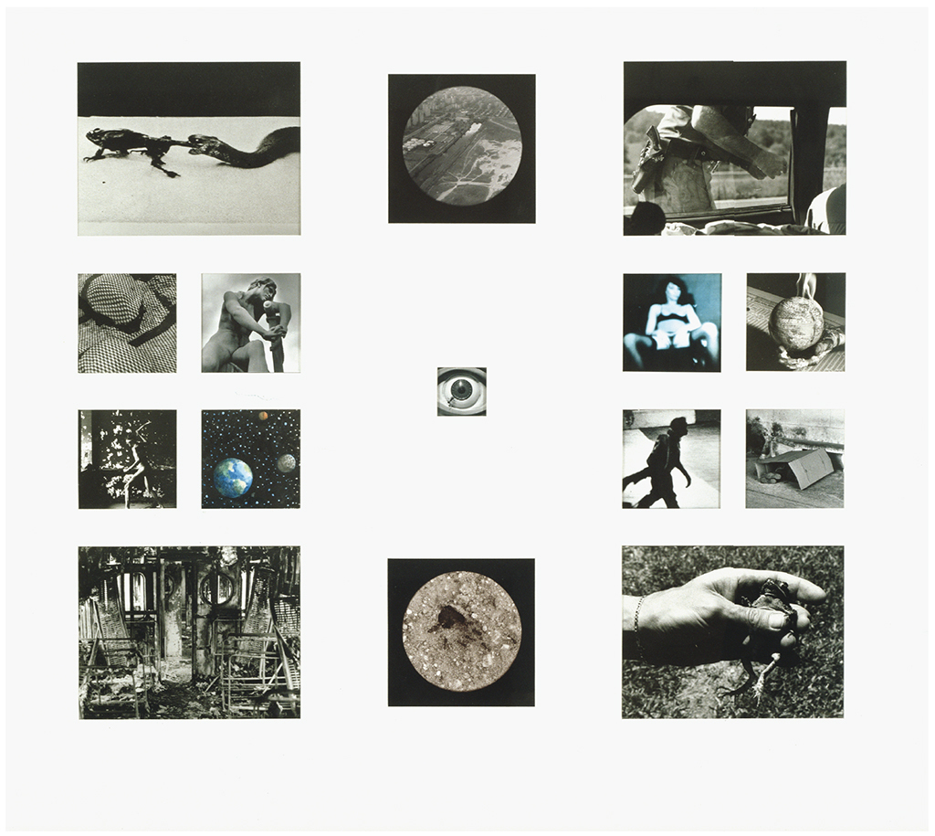 "David Wojnarowicz, Weight of the Earth, Part II, 1988–89, fourteen gelatin silver prints and watercolor on paper mounted on board, 39 × 41 1/4"". © The Estate of David Wojnarowicz."