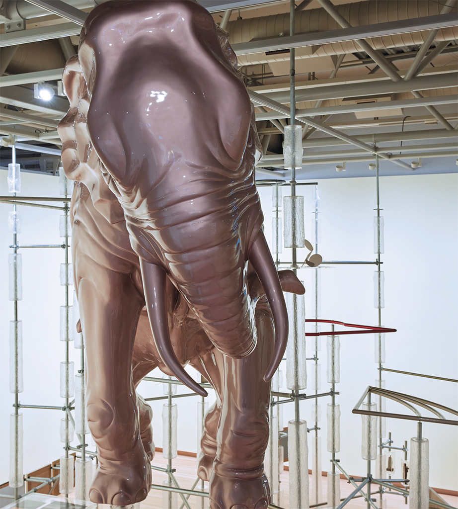 Michael Parekōwhai, Standing on Memory, 2018, fiberglass, automotive paint. Installation view, Te Papa Tongarewa, Wellington. Photo: Sam Hartnett.