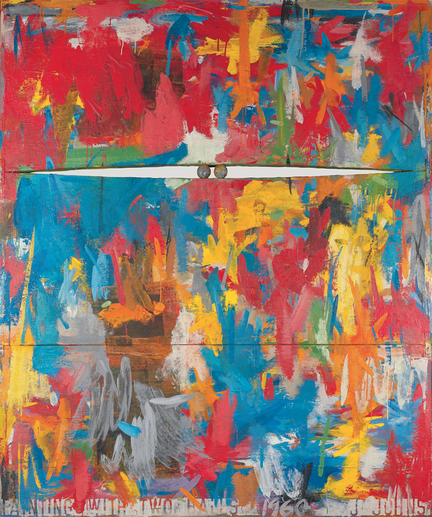 "Jasper Johns, Painting with Two Balls, 1960, encaustic and collage on canvas, wooden balls, 65 x 54"". © Jasper Johns/Licensed by VAGA, New York, NY."