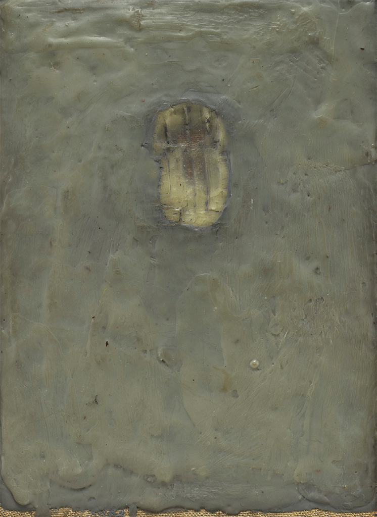 "Jasper Johns, Painting Bitten by a Man, 1961, encaustic on canvas mounted on type plate, 9 1/2 x 6 7/8"". © Jasper Johns/Licensed by VAGA, New York, NY."