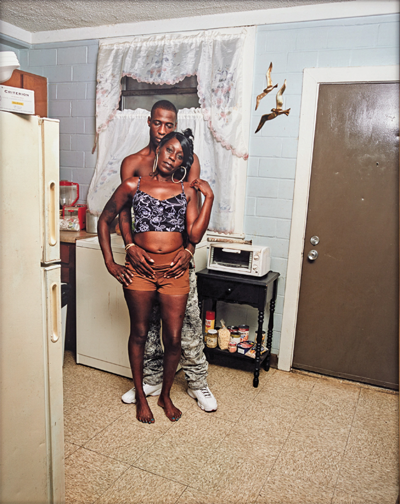 "Deana Lawson, Seagulls in Kitchen, 2017, ink-jet print, 71 1/4 x 56 3/8""."
