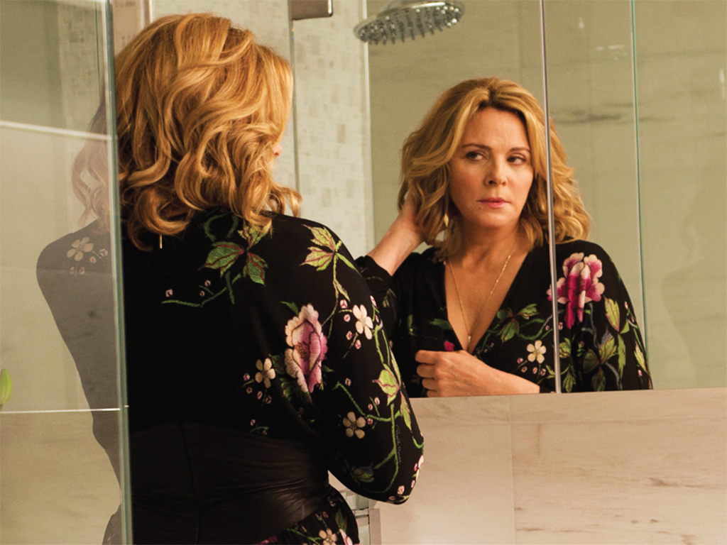 "*_Sensitive Skin_, 2014–16*, TV show on HBO Canada. Season 1, episode 3, ""The Three Sisters."" Davina Jackson (Kim Cattrall). Production still."