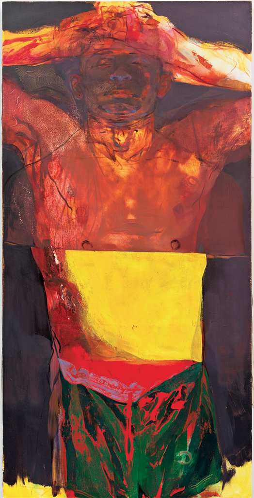 "*Jennifer Packer, _Transfiguration (He's No Saint)_, 2017*, oil on canvas, 72 × 36""."