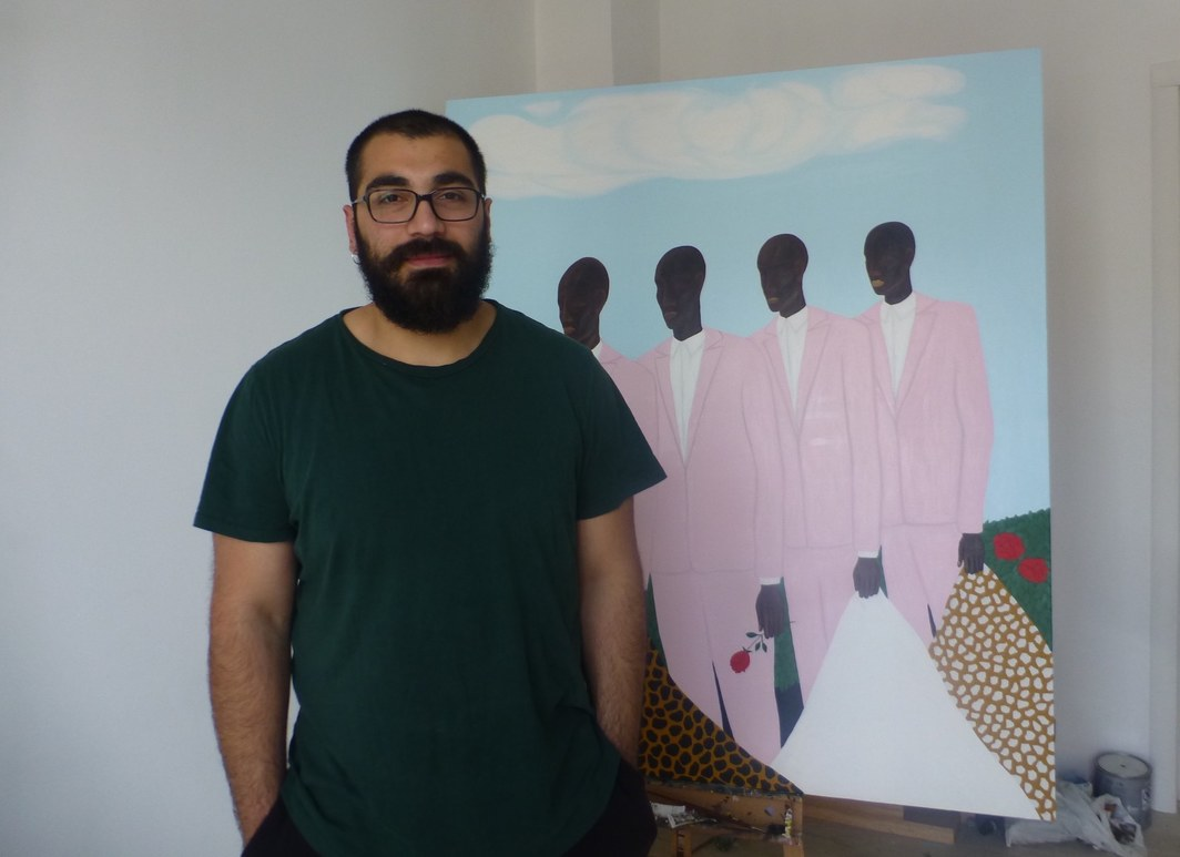 Artist Giorgi Qochiashvili in his studio.