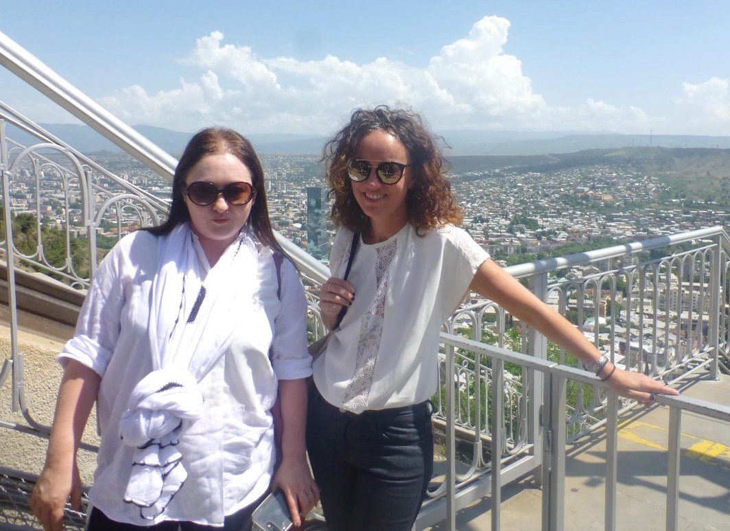 Artspace's Alexie Glass-Kantor and Michelle Newton on Tbilisi's funicular.
