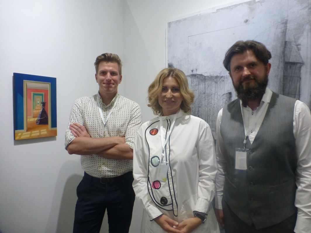 NK Gallery's Mathias Swings, Nadya Kotova and Nikolaj Kotov at Tbilisi Art Fair.