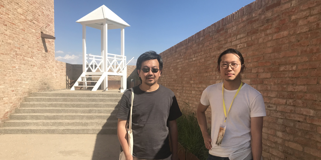 Architect and artist Li Juchuan and WUXU Group's Zheng Ningyuan in front of Li's A Lookout to Xi Hai Gu. (All photos: Hanlu Zhang)