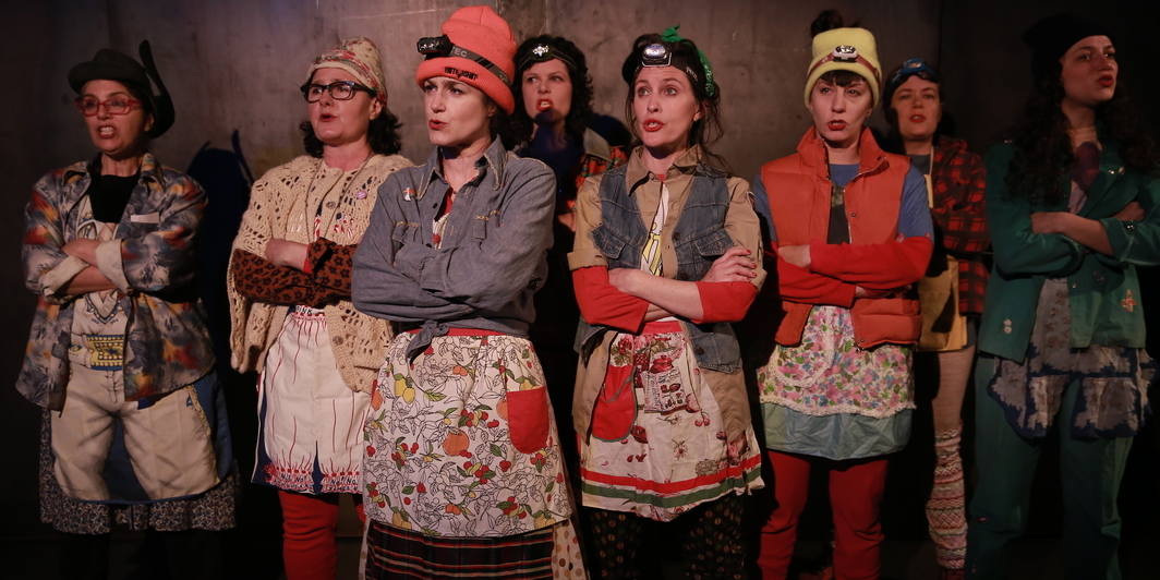 Sibyl Kempson/7 Daughters of Eve Thtr. & Perf. Co. Sasquatch Rituals. Performance view, The Kitchen, New York City, 2018. Linda Mancini, Laurena Alan, Sibyl Kempson, Jessica Weinstein, Eleanor Hutchins, Maurina Lioce, Lindsay Hockaday, Sarah Willis. Photo: Paula Court.