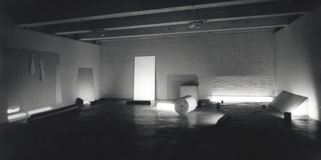 Keith Sonnier, Dis-Play II, 1970, mixed media, dimensions variable. Installation view, Leo Castelli Warehouse, New York, 1970. Photo: Peter Moore. Courtesy of Keith Sonnier Studio © 2018 Keith Sonnier/Artist's Rights Society (ARS), New York.