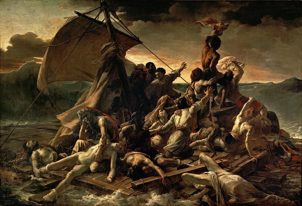 "Théodore Géricault, The Raft of the Medusa, 1818–19, oil on canvas, 16' 1"" x 23' 6"".
