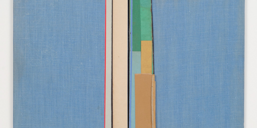 "Chris Corales, Students of the Sea, 2014, found paper, found bookbinding cloth, adhesive, 8 1/4 x 10 3/4""."