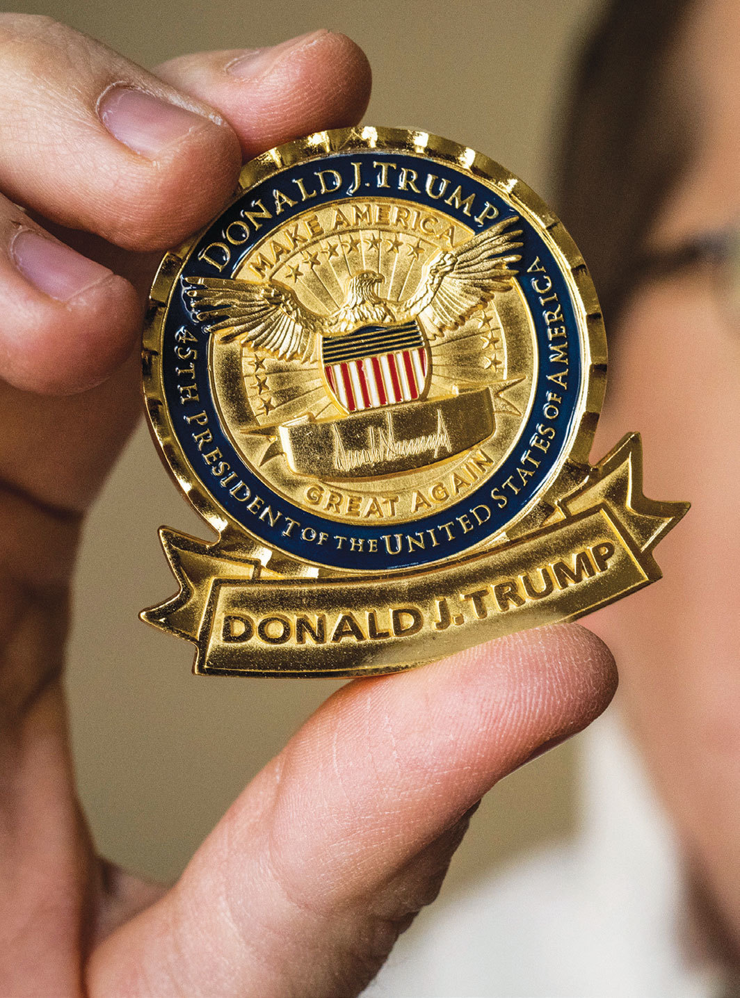 "Donald Trump official ""challenge coin,"" 2017. Photo: Bill O'Leary/The Washington Post/Getty."